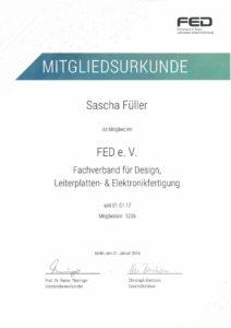 Mitgliedsurkunde FED e.V. 2018