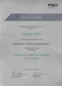 ZED Level III - Zertifikat